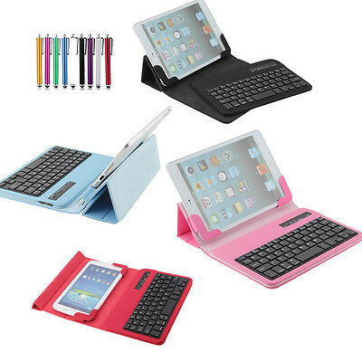 """For Various 7"""" 9.7"""" 10"""" Removable  Wireless Bluetooth Keyboard W/ PU Case Cover"""