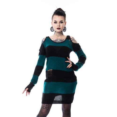 Top señoras Negro y verde azulado sin corazón Tokyo Gótico Emo Punk Comic con vestir