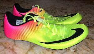 3079fc52704 NIKE Superfly Elite Volt Yellow Pink Sprint Spikes Track Shoes Youth ...