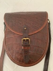 Image is loading GENUINE-MULBERRY-VINTAGE-BROWN-CONGO-PRINT-LEATHER-SADDLE- cee081ebbc2a2