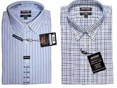 NEW MEN/'S KIRKLAND SIGNATURE 100/% COTTON NON-IRON DRESS SHIRT 80//2 VARIETY!