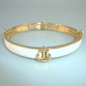 Nautical-Gold-NEW-White-Anchor-Stretch-Bangle-Bracelet-DESIGNER-Style-USA-Seller