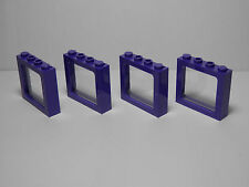 LEGOS Set of 4 NEW 1 x 4 x 3 Train Windows Clear Glass DARK PURPLE  HARRY POTTER