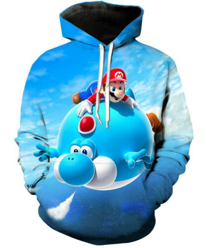 Fashion Women//Men/'s Super Mario Bros 3D Print Hoodies Sweatshirt Pullover Tops