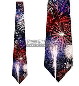 Fireworks-Ties-Patriotic-Tie-Men-039-s-4th-of-July-Neck-Ties-Brand-New