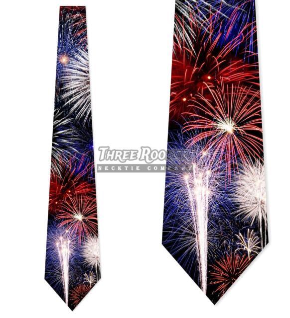 Fireworks Ties Patriotic Tie Men's 4th of July Neck Ties