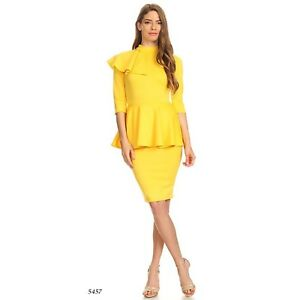 f4a97aba22 Details about Yellow Midi Dress Off Shoulder Ruffle Bandage Bodycon Party  Cocktail Knee Length