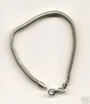 6 pcs Sterling 3mm Bracelet for All Bead Charms 7.5