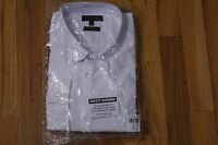River Island Slim Fit White Textured Long Sleeve Button Down Shirt Size L