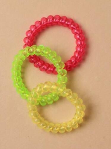 Girls Neon Bright Telephine Hair Bobbles Elastics Hair Ties Accessories 3 Pack
