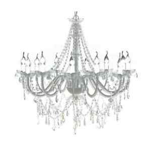 vidaXL Chandelier with 1600 Crystals White Pendant Light Lamp Lighting Fixture