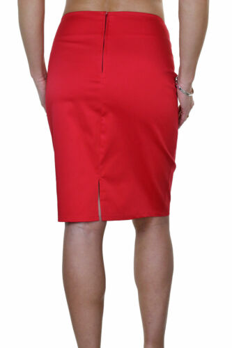 "Womens Stretch Pencil Skirt 22/"" Smart Casual Slight Sheen Red NEW 6-18"
