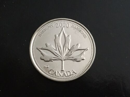 2000 Canada 25 Cents Quarter From Mint Roll June Harmony Maple Leaf