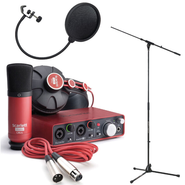 Focusrite Scarlett Studio with Boom Tripod Microphone Stand and Pop Filter