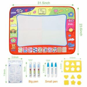 Large-Aqua-Magic-Water-Drawing-Painting-doodle-Mat-Pad-with-2-Water-Pen-Toy