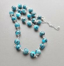 Turquoise colour glass bead necklace .. round speckled blue glam faux jewellery