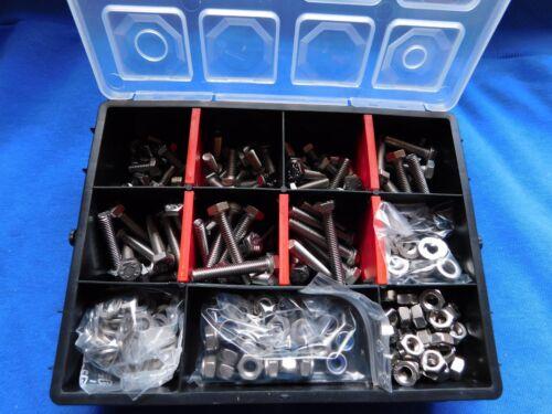 Muttern und Scheiben 445 St. div Sechskant-Set DIN 933 V2A M6 *12-40mm