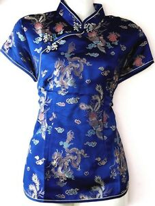 eeae7acea87b Asia Miss Damen China Japan Geisha-Bluse Blazer Top Dunkelblau Gr.32 ...
