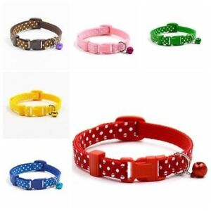 Adjustable-Nylon-Collar-Pets-Small-Dog-Puppy-Cat-Polka-Dots-Neck-Strap-With-Bell