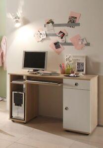 Details zu Kinder Schreibtisch Kinderschreibtisch Kinderzimmer TINA Eiche  Sonoma Weiß Dekor