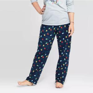 Women/'s Navy Holiday Twinkly Light Fleece Pajama Pants Size L 12//14 Lounge Pants