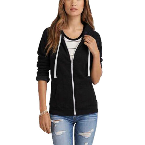 Ladies Womens Sweatshirt Plain Hoodie Zip Jacket Hooded Jumper Hoody Coat Top