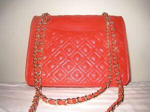 8fa1f0289f9 Tory Burch Fleming Patent Medium Bag Masaai Red Crossbody Shoulder ...