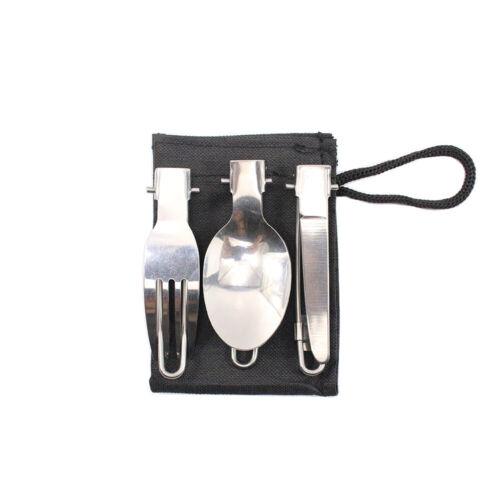 3pcs Pliable Camping Couverts Set Pack-Petit Portable fourchette//couteau//cuillère dans pochette
