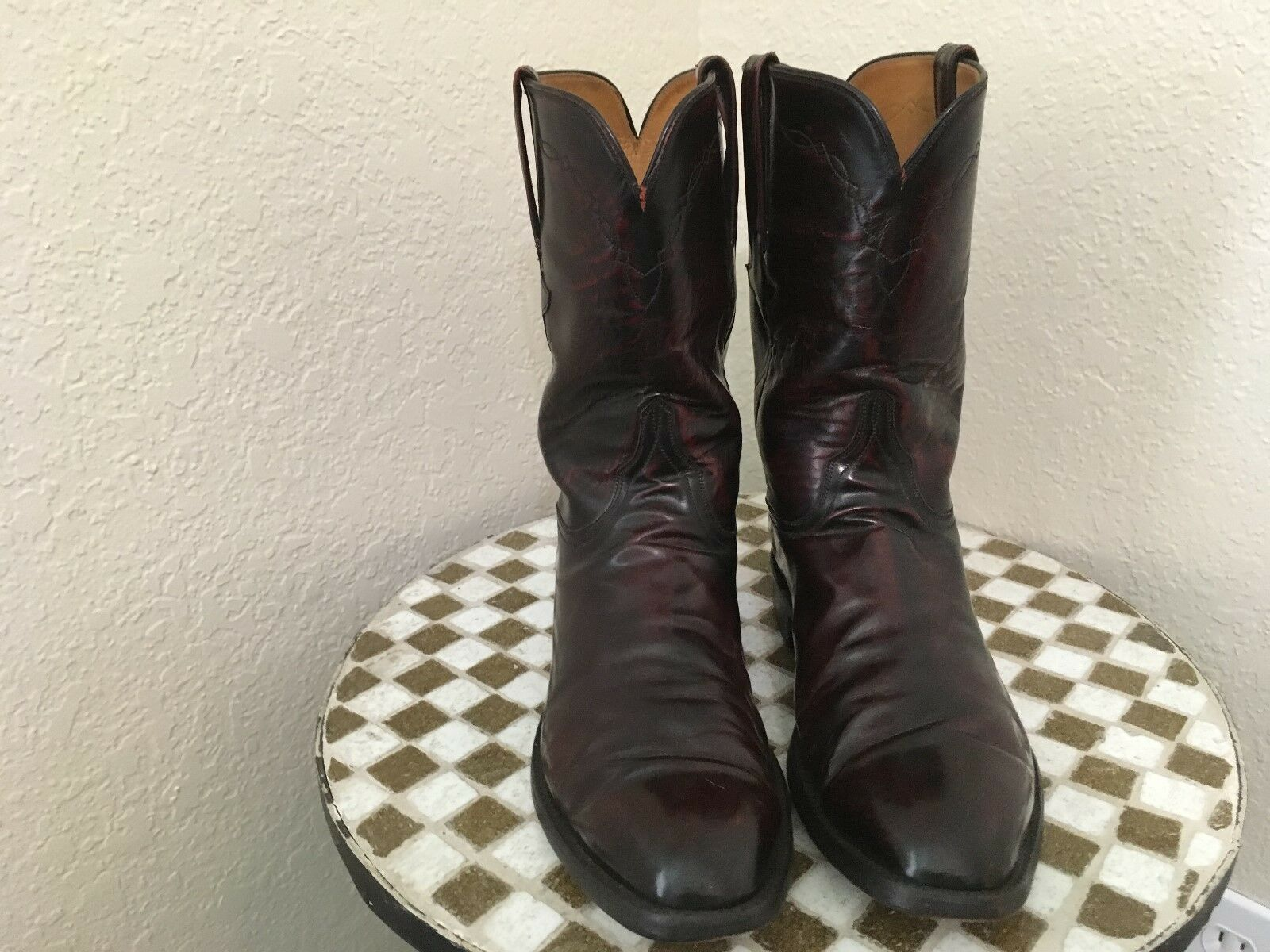 Handmade LUCCHESE Bourgogne Cuir Western Cowboy bottes 11.5 D