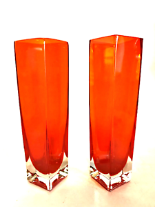 Orange-Square-Vases-Pair-Mid-Century-Encased-Cube-Glass-Heavy-Clear-Base-7-inch