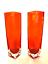 Orange-Square-Vases-Pair-Mid-Century-Encased-Cube-Glass-Heavy-Clear-Base-7-inch thumbnail 1