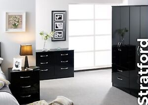 Details about Stratford Black High Gloss Wardrobe Set Fully Ready Assembled  Bedroom Furniture