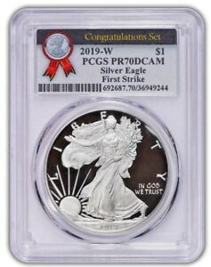 2019-W-1-Proof-Silver-Eagle-PCGS-PR70-DCAM-FIRST-STRIKE-CONGRATULATIONS-SET