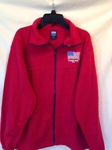 Ensoleillé Men's Team Usa Jeux Olympiques Logo Veste Warm-up Rouge Polaire Full Zip Taille M-afficher Le Titre D'origine