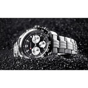 Curren Luxury Lifestyle Silver & Black Sports Watch for Men! (Wristwatch)