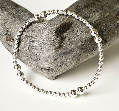Sterling Silver Beaded Stretch Bracelet - Gift Boxed