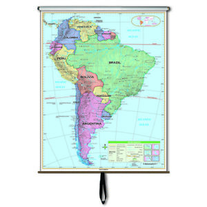 Map Of America Ebay.Details About South America Essential Classroom Wall Map On Roller