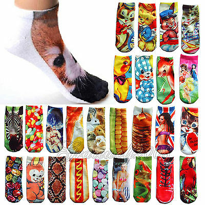 New Fashion 3D Printed Pattern Unisex Low Cut Ankle Socks Harajuku Style 30Color