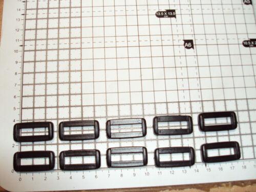 """10pcs 2-BAR plastique boucle-boucles-pour-Sangle 25 mm-NOIR /""""B/"""""""