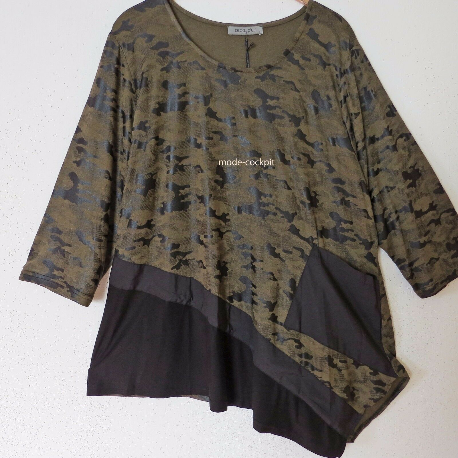 ZEDD..PLUS tolles Lagenlook Long Shirt Tunika Camouflage oliv-black 48-50 (3)