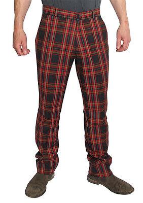 Mens Red Black Tartan Punk Golf Sta Prest Retro Trouser