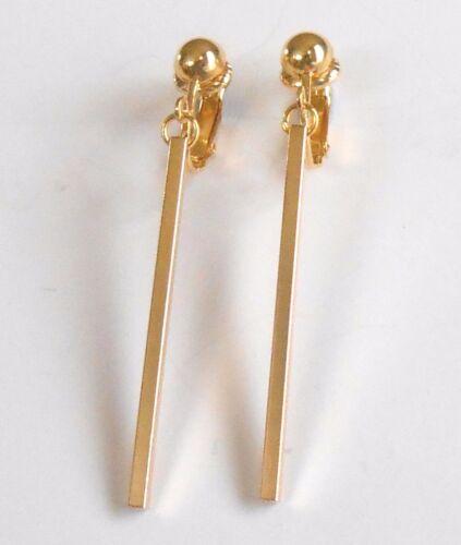 Elegante y simple barra de oro pendientes de clip las opciones de gancho de
