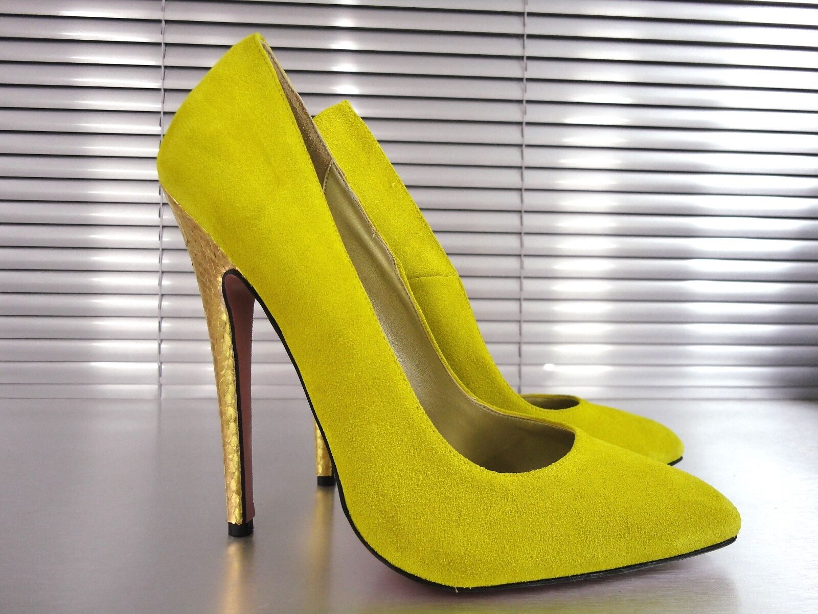 MORI MADE IN ITALY HIGH SKY HEELS PUMPS SCHUHE 45 Schuhe LEATHER GIALLO YELLOW 45 SCHUHE 2a3d2f