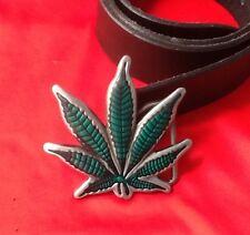 Foglia di canapa cannabis weed erba marijuana erba hashish Verde Fibbia Cintura in pelle nera