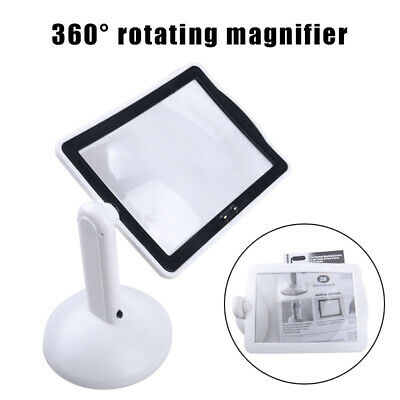 Hands-free Rotating 3X Magnifier 2-LED Table Light Magnifying Glass Desktop Lamp