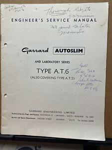 Original Service Manual for Garrard Autoslim Lab Type AT-6 AT-5 Turntables
