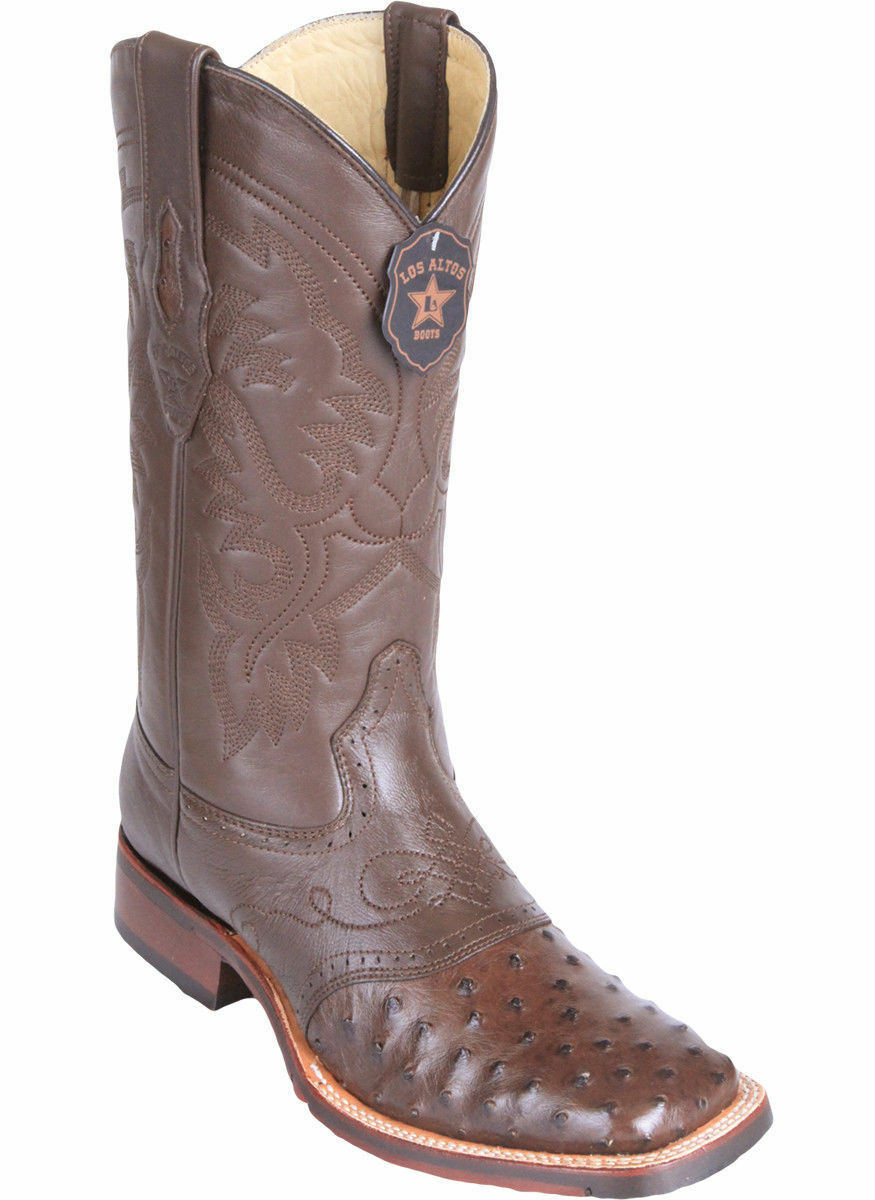 Los Altos BROWN Ostrich Square Toe TPU Rubber Sole Western Cowboy Boot EE+