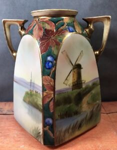 Antique-Nippon-Morimura-Double-Handle-Vase-HP-Windmill-Boat-Scene-Flat-Sided-10W