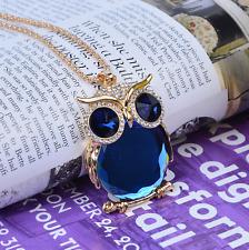 New Owl Rhinestone Crystal Pendant Long Sweater Chain Necklace Jewelry Fashion