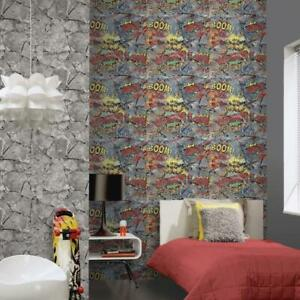 Details About Comic Book Style Wallpaper Multi Words On Cracked Stone Effect 05588 10